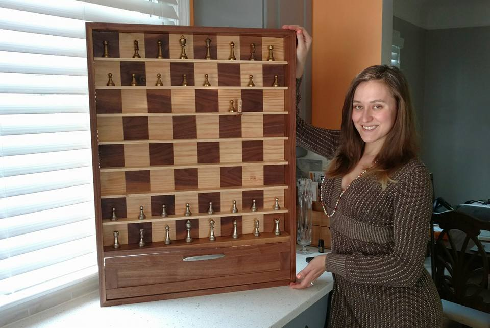 vertical wall hanging chess board and Maria
